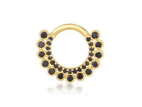 Fiori daith in black diamonds YELLOW color