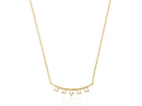 Five square diamond necklace YELLOW color