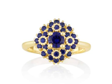 Maggie flower ring with sapphires YELLOW color