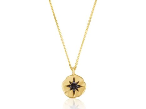 10 mm north star coin necklace in black diamonds YELLOW color
