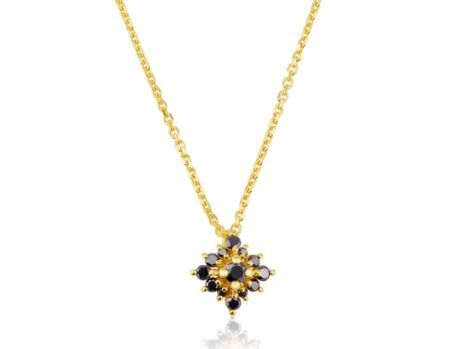 Small Sefi flower necklace in black diamonds YELLOW color