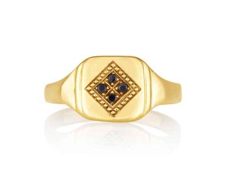 Black diamond square stamp ring YELLOW color