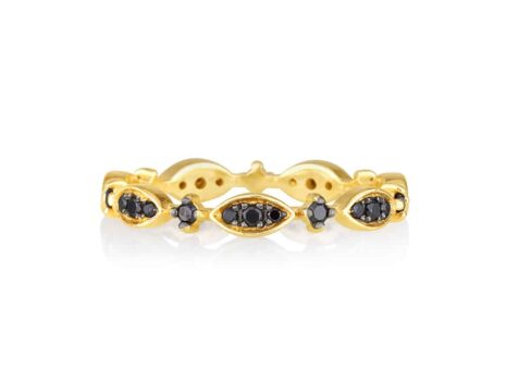 Victorian ring in black diamonds YELLOW color