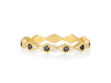 Zigzag ring in black and white diamonds YELLOW color