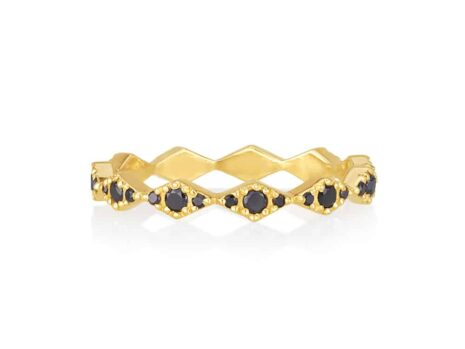 Zigzag ring in black diamonds YELLOW color